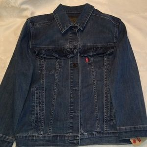 Girls levi's blue jean ruffle jacket